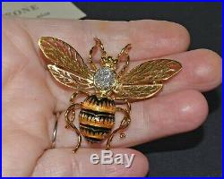 Vtg 18K Gold Diamond Enamel Plique a Jour Honey / Bumble Bee Insect Pin Brooch