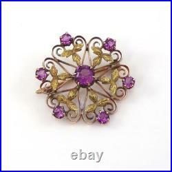 Vtg Antique Victorian 10K Yellow Gold Purple Amethyst Flower Pin Brooch LHE3