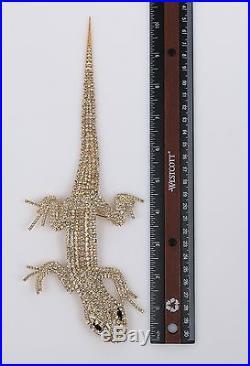 Vtg Butler Wilson Lizard Book Piece Gold Crystal Huge Articulated Brooch Pin