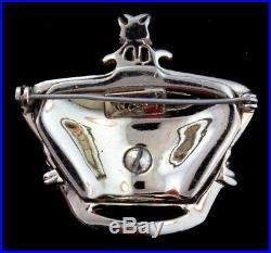 Vtg Katz CORO CRAFT Golden Jubilee Emerald Rhinestone Crown Figural Brooch Pin