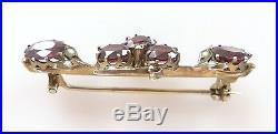 Vtg Rhodolite Garnet Floral Brooch Pin Pearl Gold Vermeil 800 Silver Victorian
