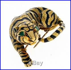 WOW Authentic Vintage David Webb 18K Gold Enamel Emeralds Tiger Brooch Pin 50.7g