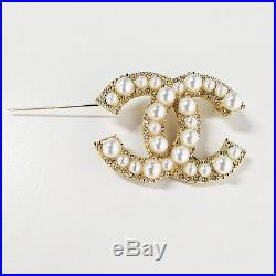 WithBox Chanel Large Cc Pearl Brooch Anniversary Pearls and Crystals Gold Pin New