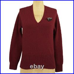 XS NEW $980 GUCCI Red Wool GOLD BEE BROOCH PIN KNIT V KNIT Classic SWEATER TOP