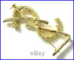 Ysl Yves Saint Laurent Authentic XL Jumbo Gold Opyum Logo Brooch Pin New