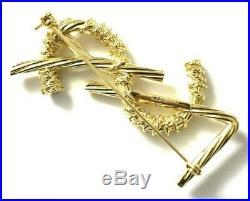 Ysl Yves Saint Laurent Authentic XL Jumbo Gold Opyum Logo Brooch Pin New