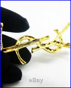 Ysl Yves Saint Laurent Large Gold Opyum Logo Crocodile Brooch Pin