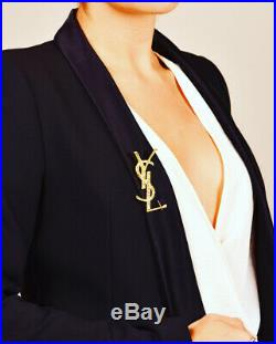 Ysl Yves Saint Laurent Large Gold Opyum Logo Crocodile Brooch Pin