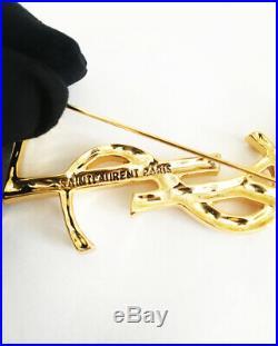 Ysl Yves Saint Laurent Large Gold Opyum Logo Crocodile Brooch Pin New