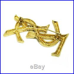 Yves Saint Laurent Logos Brooch Pin Corsage Gold-Tone Accessories AK34563