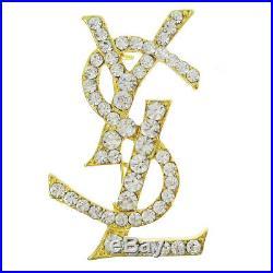 Yves Saint Laurent YSL Logos Rhinestone Brooch Pin Corsage Gold-Tone A47427